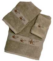 Kellsson Linens Embroidered Towels Brown Bear Lodge Collection- Linen