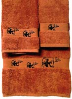 Kellsson Linens Embroidered Towels Black Bear Lodge Collection- Papaya