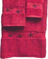 Kellsson Linens Embroidered Towels Black Bear Lodge Collection- Pomegranate