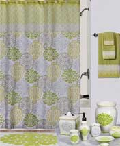 Creative Bath 100% cotton shower curtains and ceramic/wood accessories